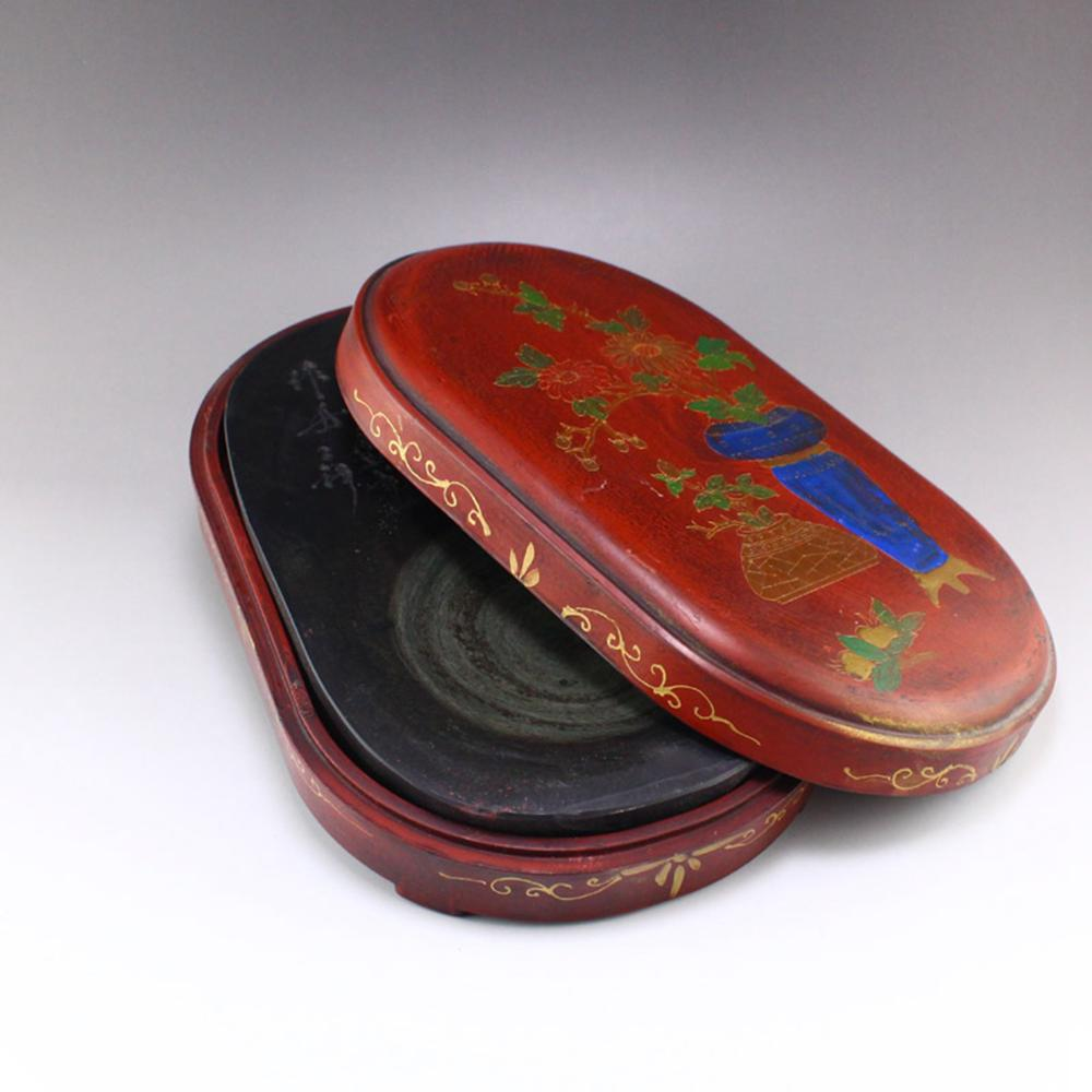 Chinese Poetic Prose Duan Inkstone With Lacquerware Box