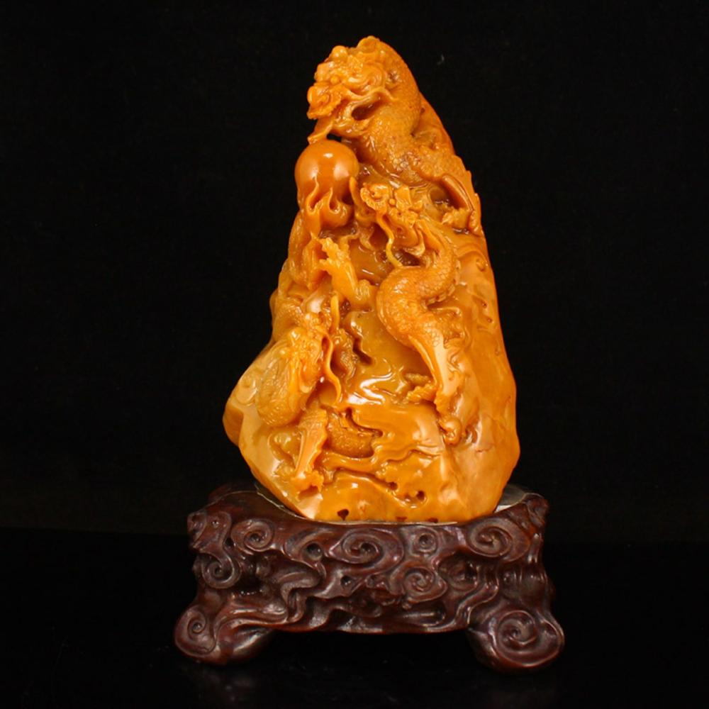 Superb Chinese Qing Dy Tianhuang Stone Dragon & Fireball Statue