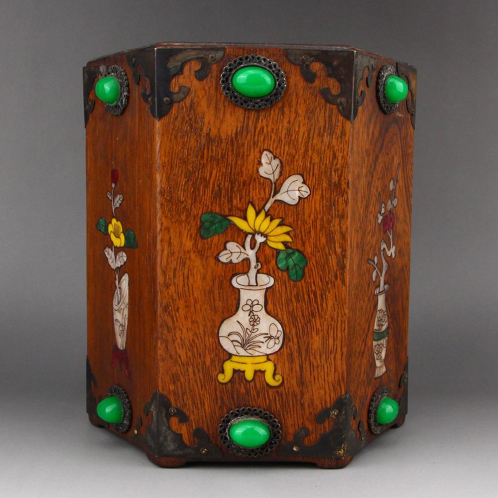 Vintage Huanghuali Wood Inlay Shell & Gem Brush Pot