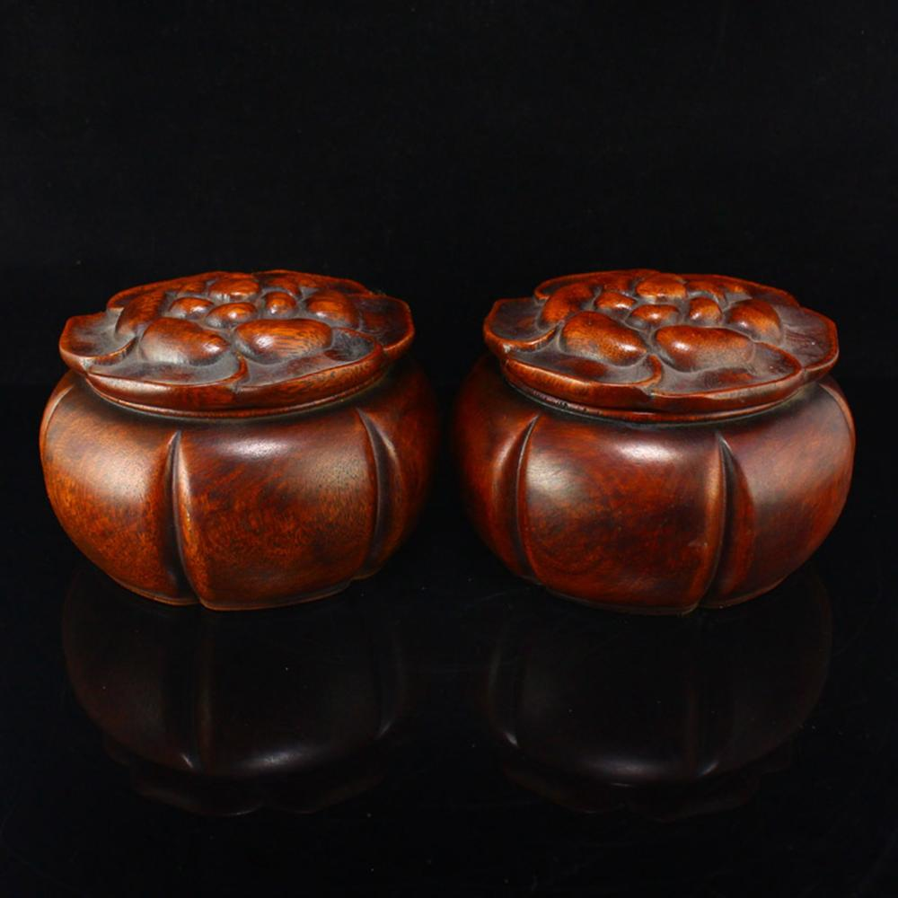 A Pair Vintage Chinese Zitan Wood Weiqi Pots