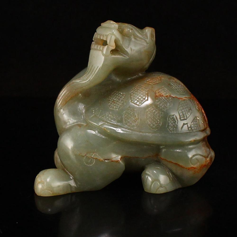 Vintage Chinese Hetian Jade Dragon Turtle Statue