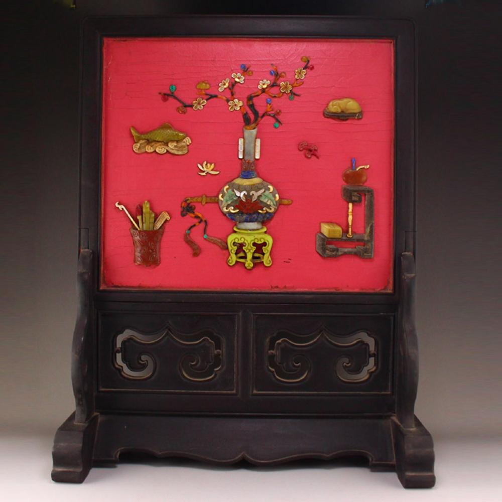 Chinese Qing Dynasty Zitan Wood Lacquerware Inlay Shell & Gems Plum Flower Design Screen