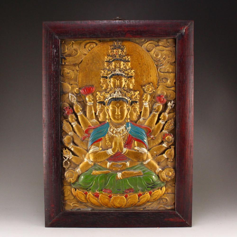Chinese Gilt Gold Zitan Wood Thousands Hands Kwan-yin Tangka