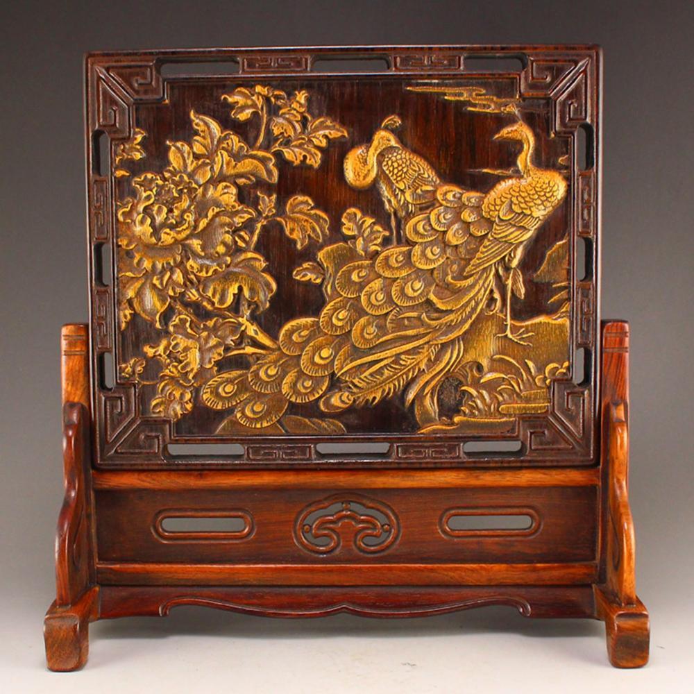 Zitan Wood Inlay Bamboo Phoenix & Peony Design Screen