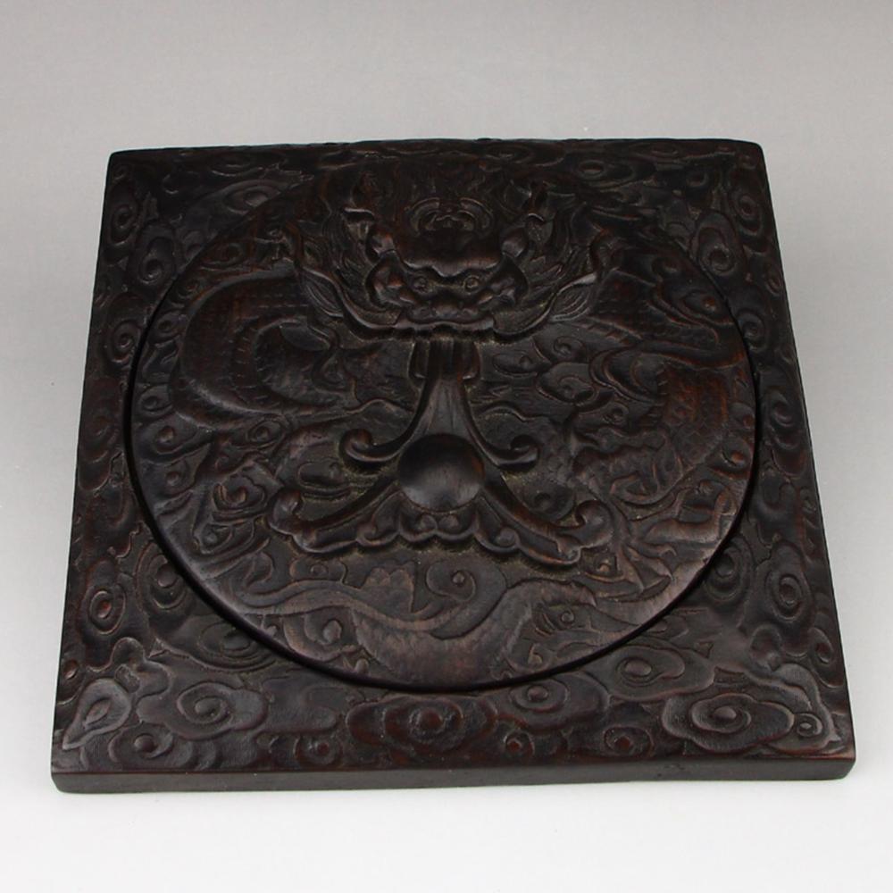 Vintage Chinese Zitan Wood Clouds Dragon Design Inkstone