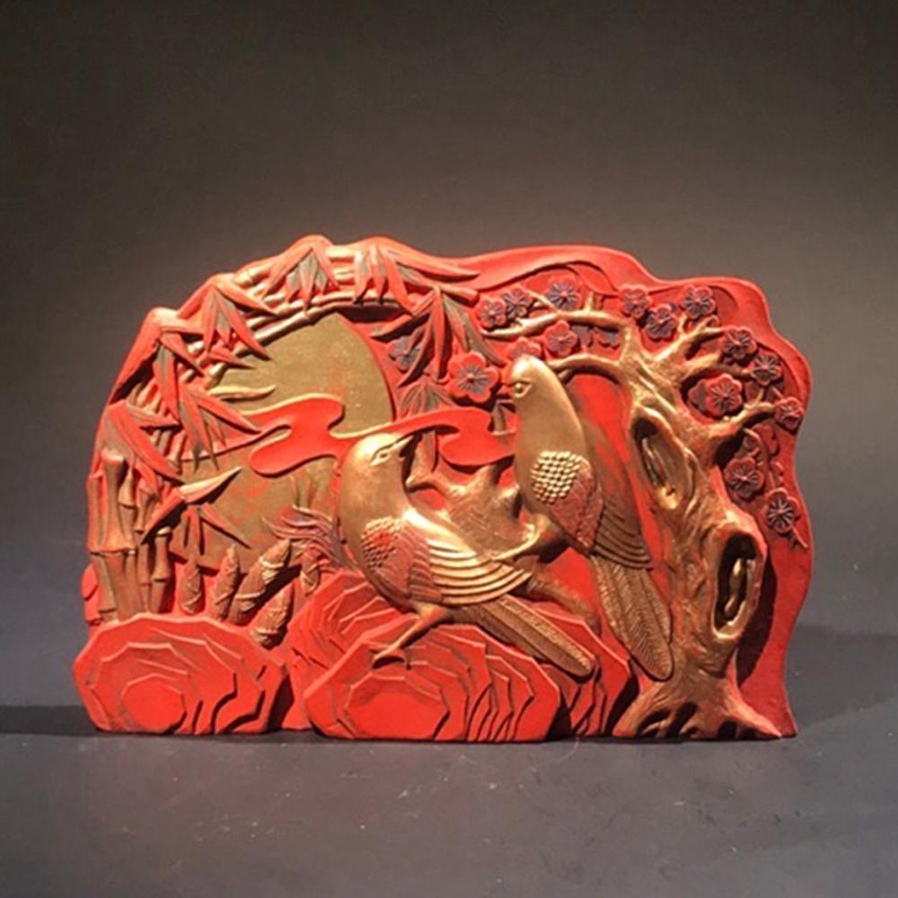 Vintage Chinese Gilt Gold Cinnabar Ink Block Statue