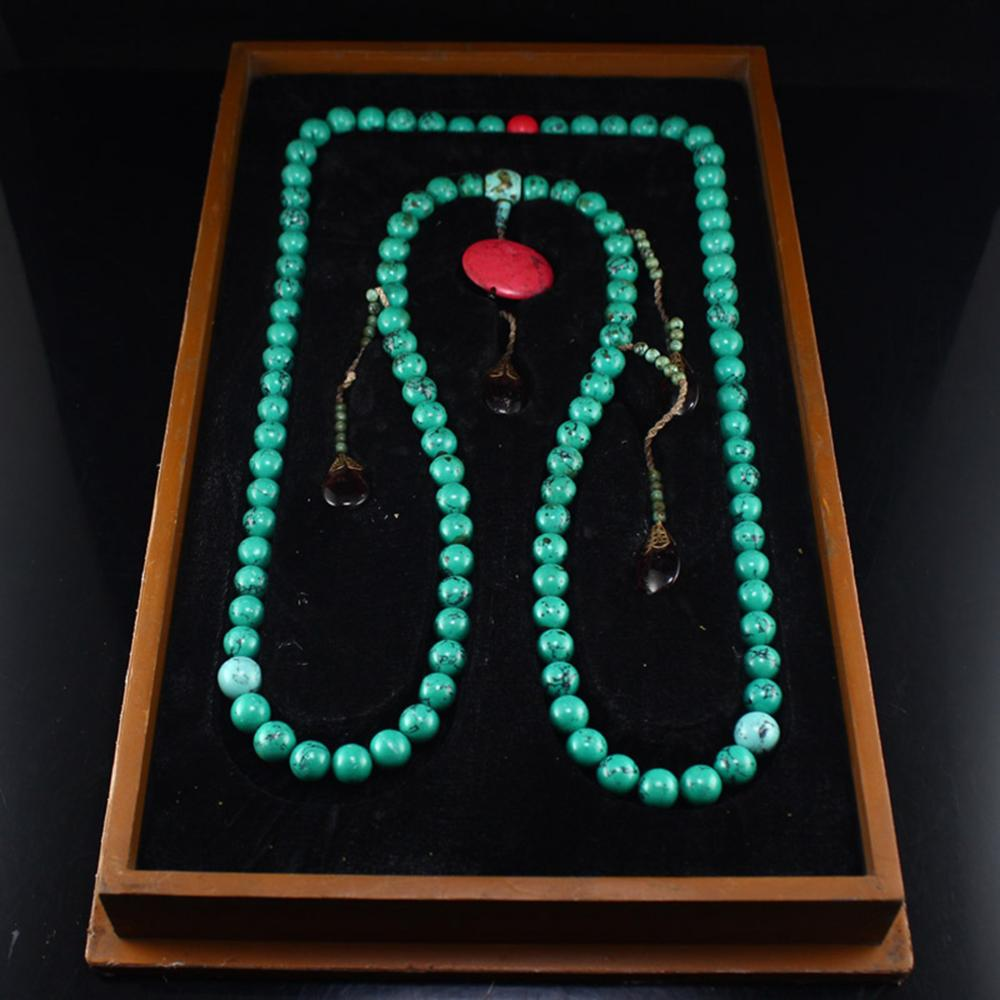 Chinese Qing Dy Turquoise Beads Court Officials Necklace w Lacquerware Box
