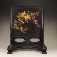 Vintage Chinese Zitan Wood Inlay Shells Screen Statue