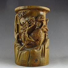 Hand Carved Chinese Natural Verawood Brush Pot Statue w Kylin
