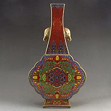 Hand-painted Chinese Enamel Porcelain Elephant Head Vase w Qianlong Mark