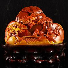 Superb Hand Carved Chinese Natural Jade Statue - Sages & Pine Tree