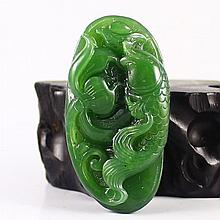 Hand Carved Chinese Natural Green Hetian Jade Pendant w Fortune Fish