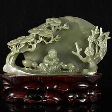 Superb Hand Carved Chinese Natural Hetian Jade  Statue w Laughing Buddha & Plum Flower