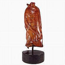 Exquisite Hand Carved Natural Hai Nan Huang Hua Li Wood Clothing Statue