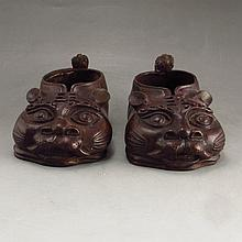 A Pair Chinese Bronze Tiger Head Children Shoes Statue