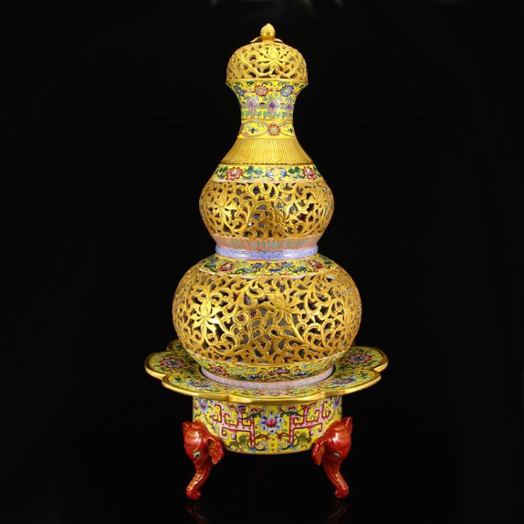 Superb Openwork Chinese Qing Dynasty Gilt Gold Famille Rose Turn Heart Porcelain Incense Burner w Yong Zheng Mark