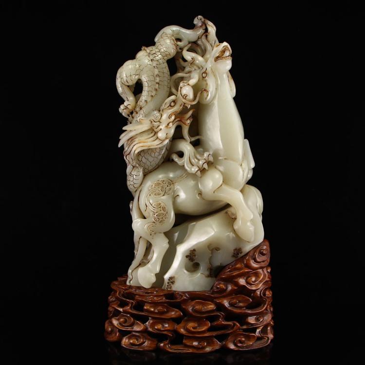 Vintage Chinese Hetian Jade Statue - Dragon & Horse