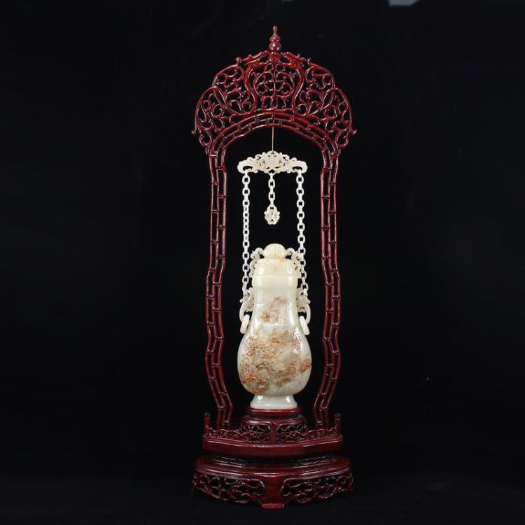 Hetian Jade Low Relief Pine Tree & Figure Scenery Vase