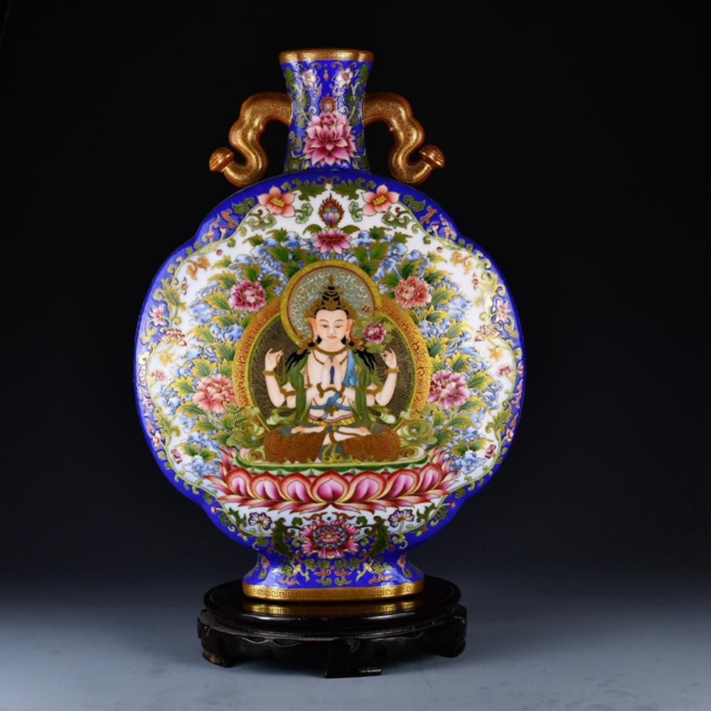 Superb Chinese Gilt Gold Enamel Tibetan Buddhism Figures Tangka Porcelain Vase w Qianlong Mark