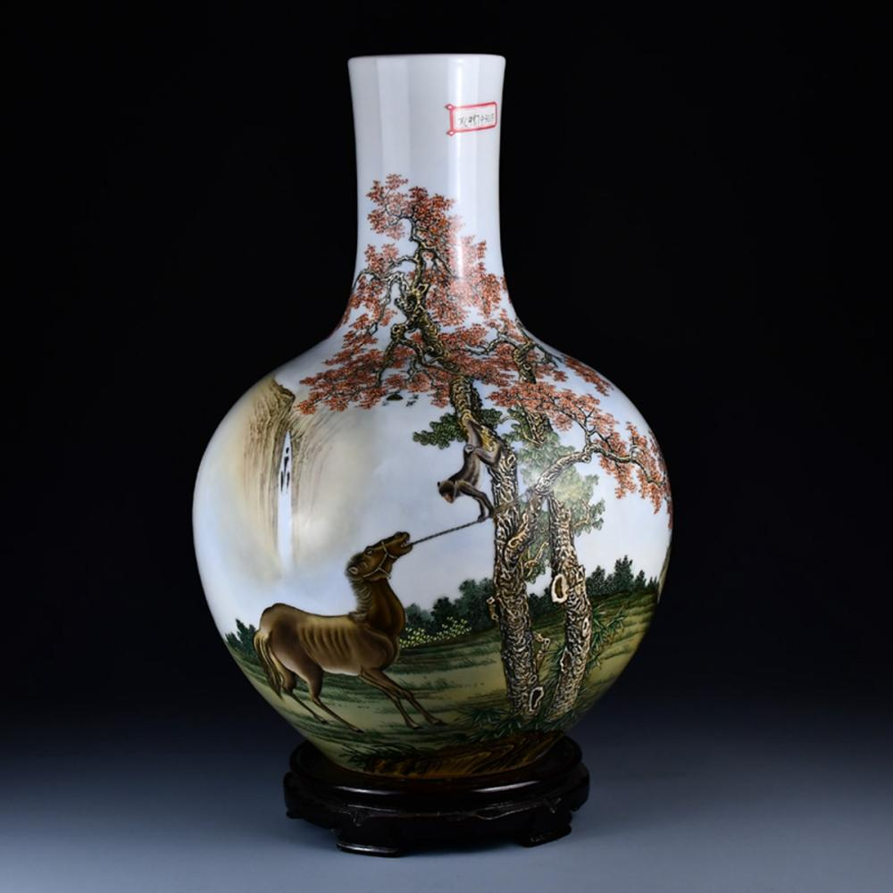 Beautiful Chinese Famille Rose Poetic Prose Porcelain Vase w Qianlong Mark
