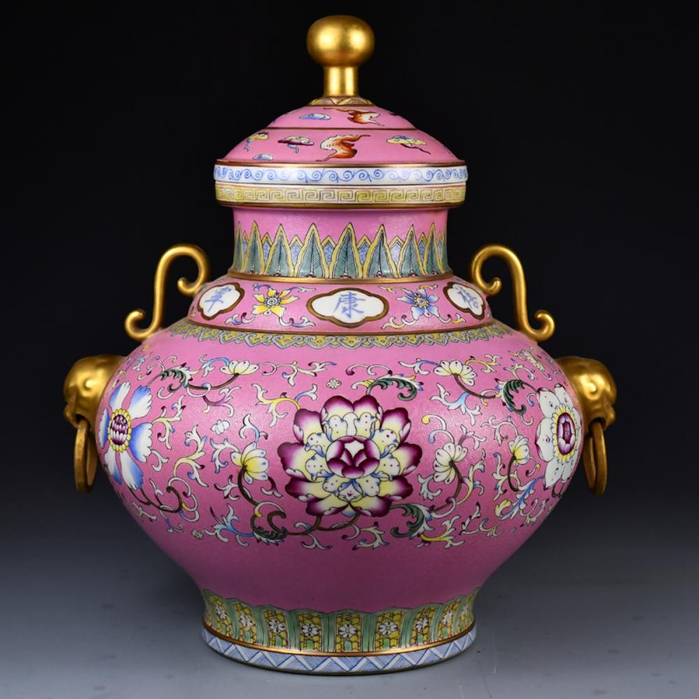 Beautiful Chinese Gilt Gold Rouge Red Glaze Famille Rose Double Rings Porcelain Jar w Qianlong Mark