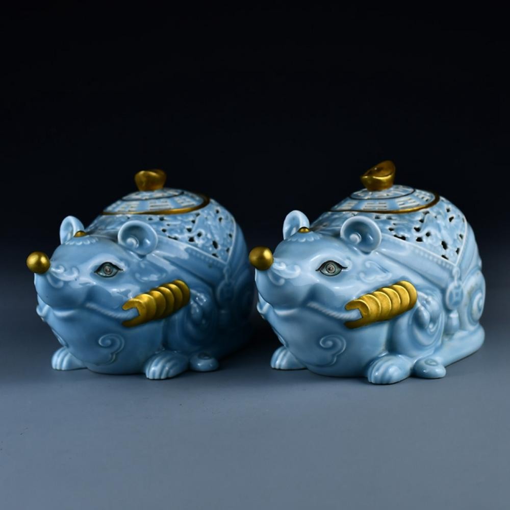 A Pair Chinese Gilt Gold Blue Glaze Fortune Mice Porcelain Incense Burner w Qianlong Mark