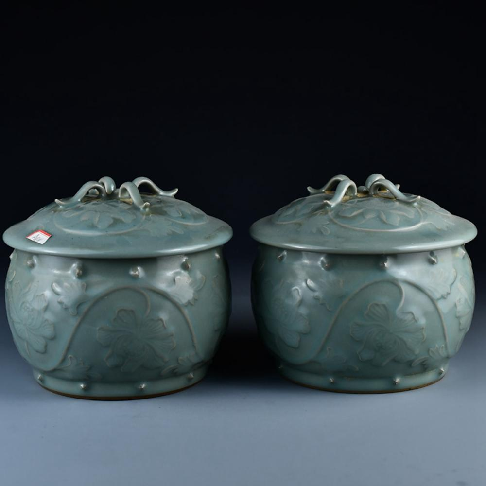 A Pair Chinese Song Dy Long Quan Kiln Porcelain Pot w Lid