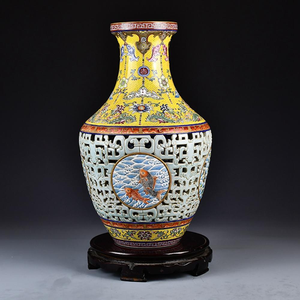 Beautiful Openwork Chinese Gilt Edge Famille Rose Porcelain Vase w Qianlong Mark