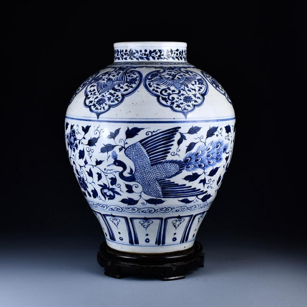 Beautiful Chinese Blue And White Porcelain Jar w Phoenix