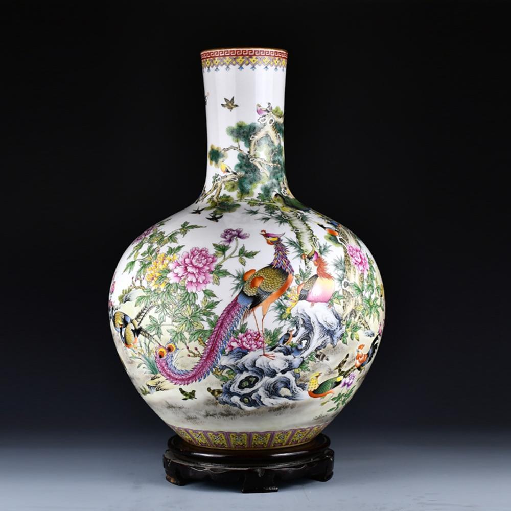 Superb Chinese Gilt Edge Famille Rose Folwers & Birds Porcelain Vase w Qianlong Mark