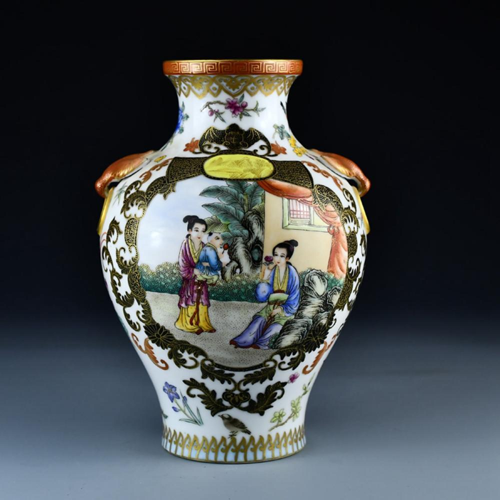 Beautiful Chinese Gilt Gold Famille Rose Double Ears Porcelain Vase w Qianlong Mark