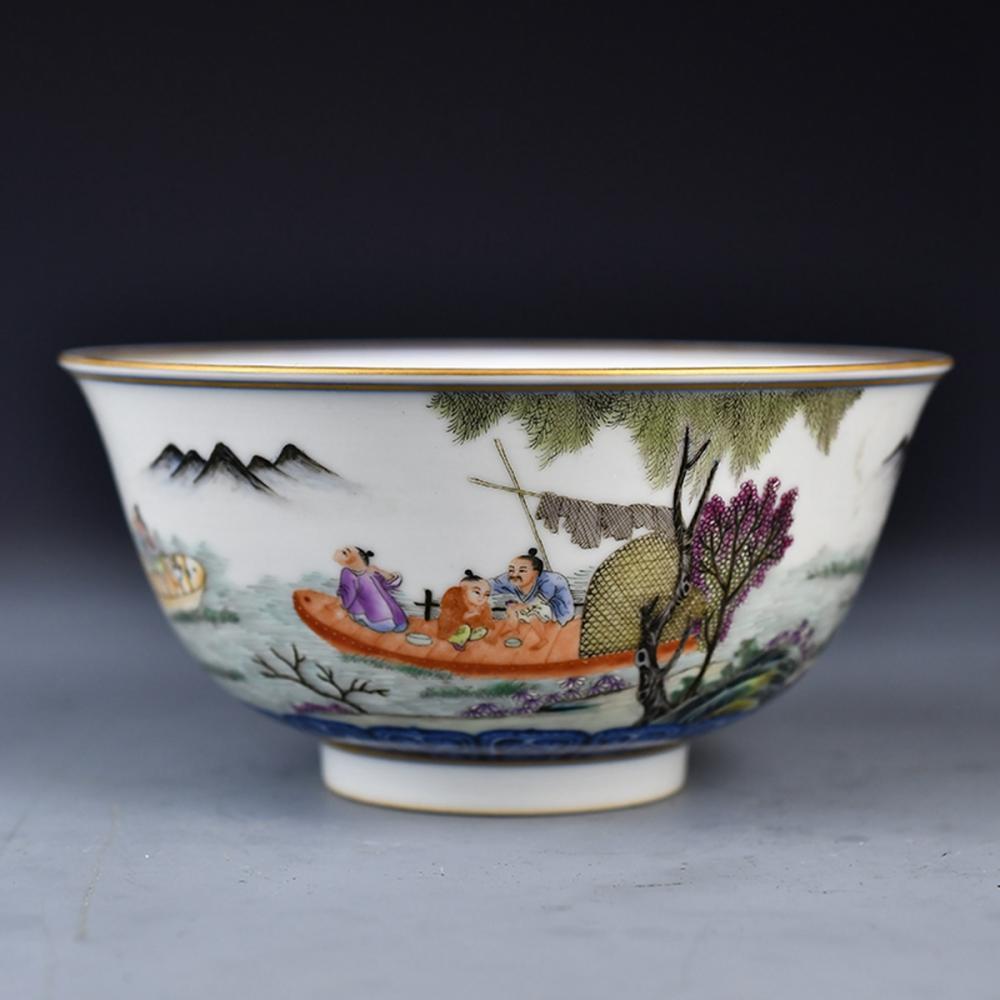 Chinese Gilt Edge Famille Rose Porcelain Bowl w Qianlong Mark