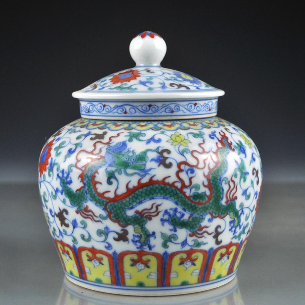 Chinese Ming Dy Dou Cai Lucky Dragon Porcelain Pot w Lid