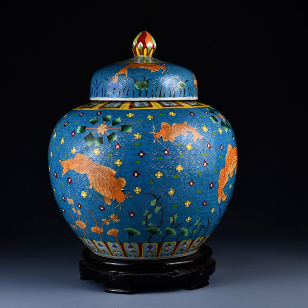 Chinese Ming Dy Gold Wire Cloisonne Porcelain Jar w Jiajing Mark