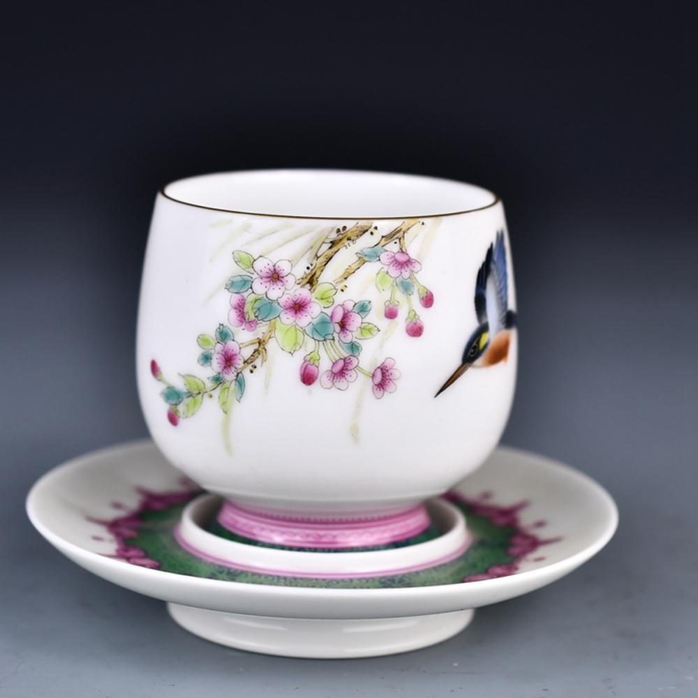 Beautiful Chinese Gilt Edge Famille Rose Porcelain Cup & Cup Saucer w Qianlong Mark