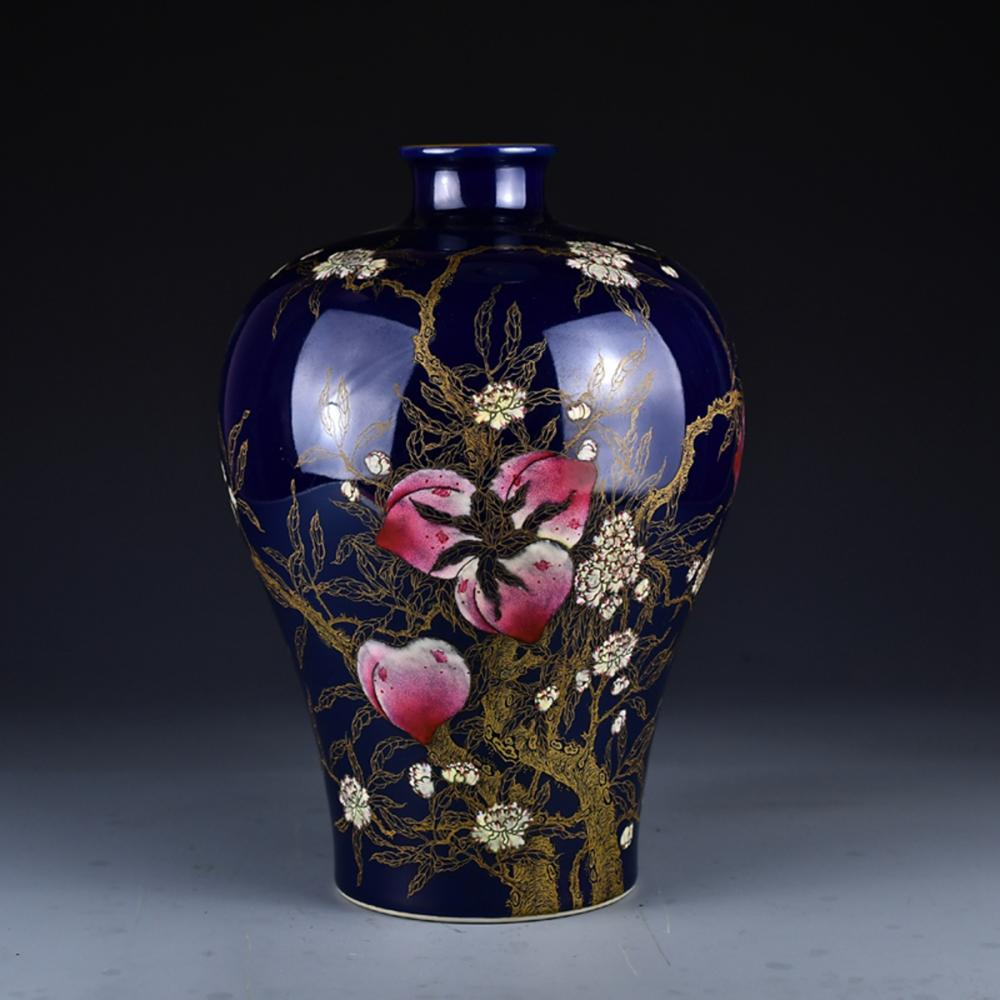 Beautiful Chinese Jilan Glaze Famille Rose Porcelain Vase w Qianlong Mark