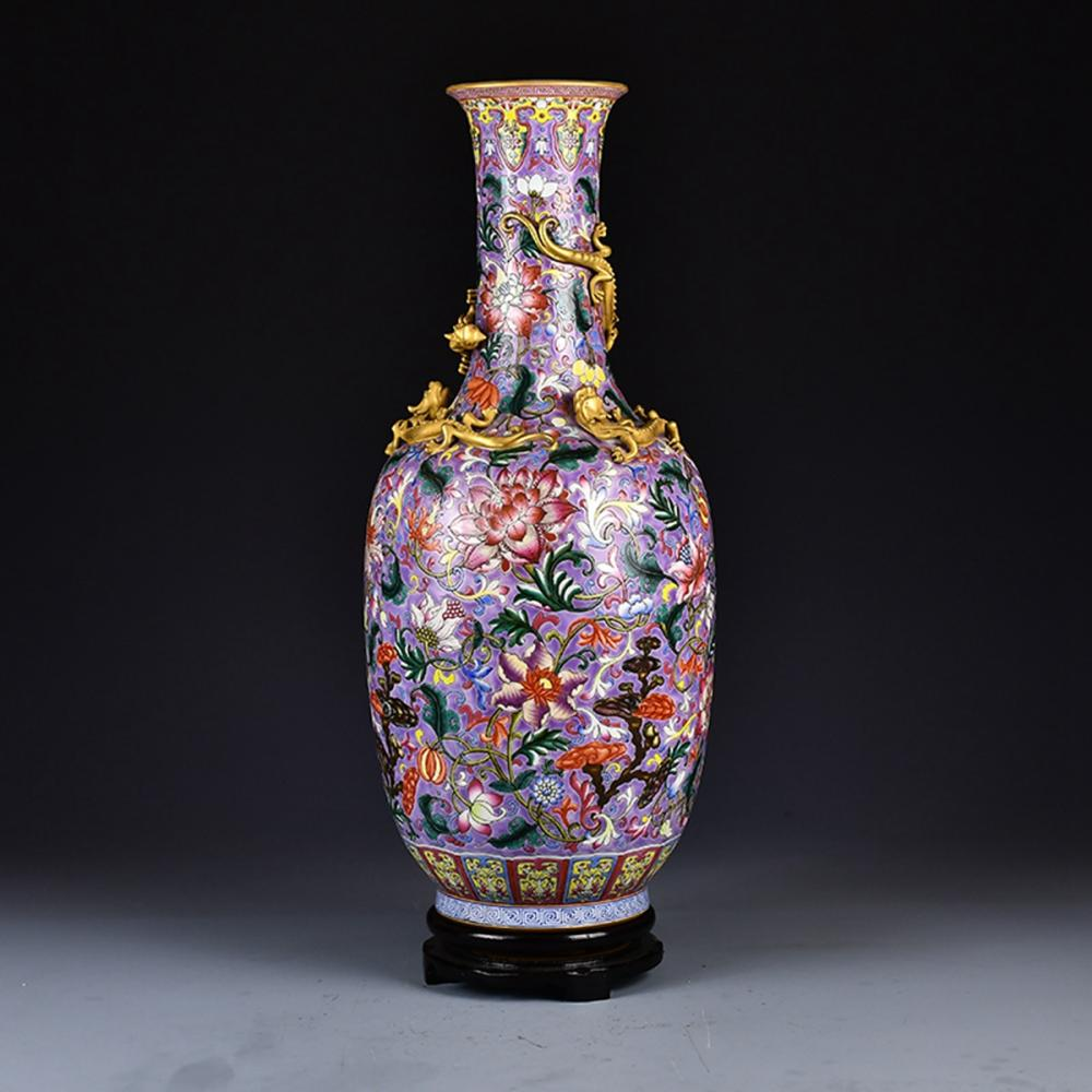 Superb Chinese Gilt Gold High Relief Chi Dragon Famille Rose Porcelain Vase w Qianlong Mark