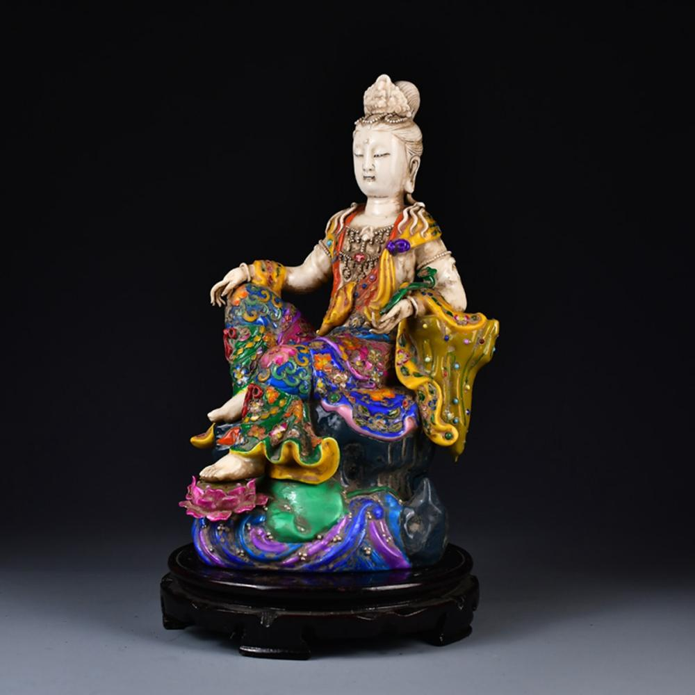 Beautiful Chinese Ming Dynasty Inlay Gold Wire Colorful Night Porcelain Kwan-yin Statue
