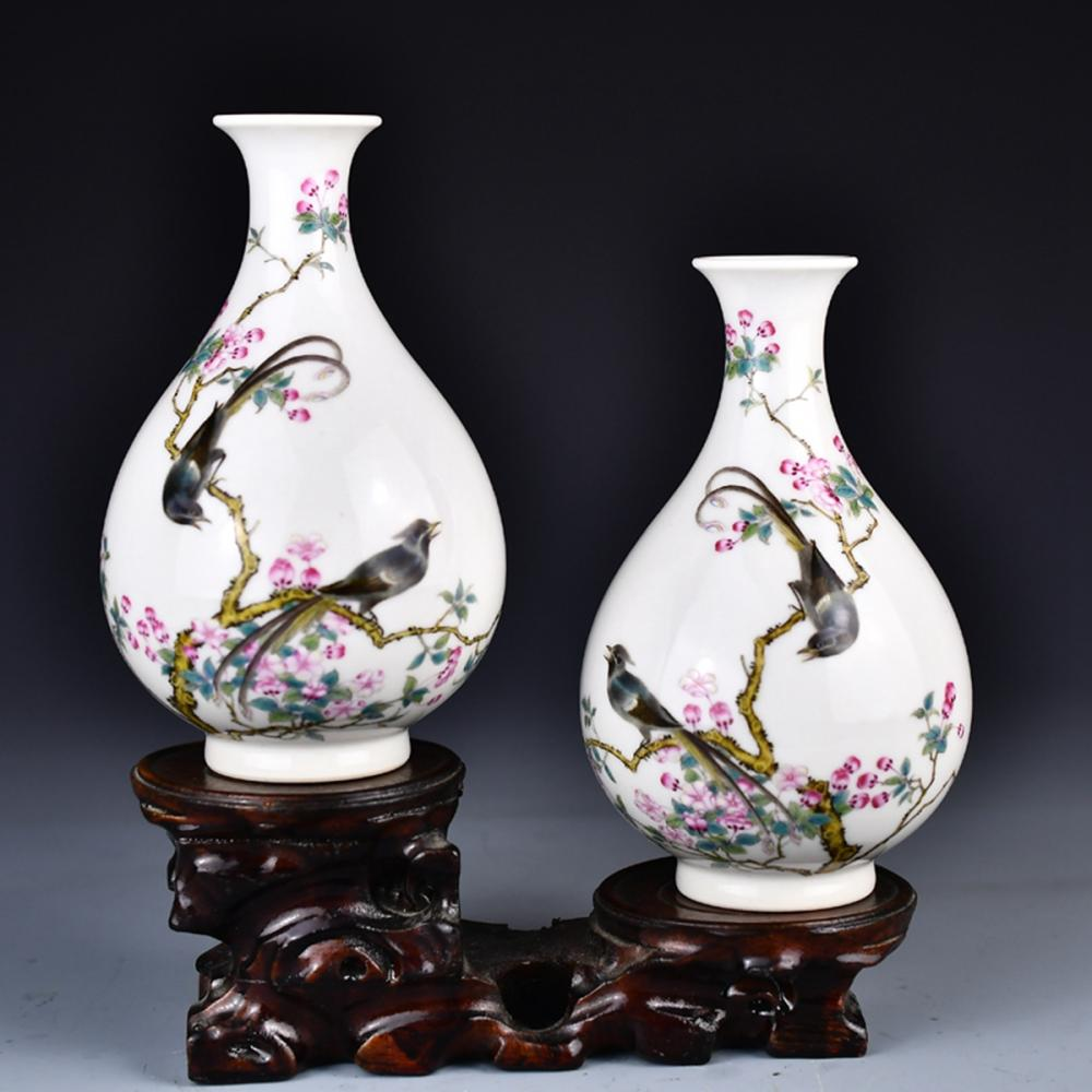 A Pair Chinese Famille Rose Flowers & Birds Porcelain Vases w Yongzheng Mark