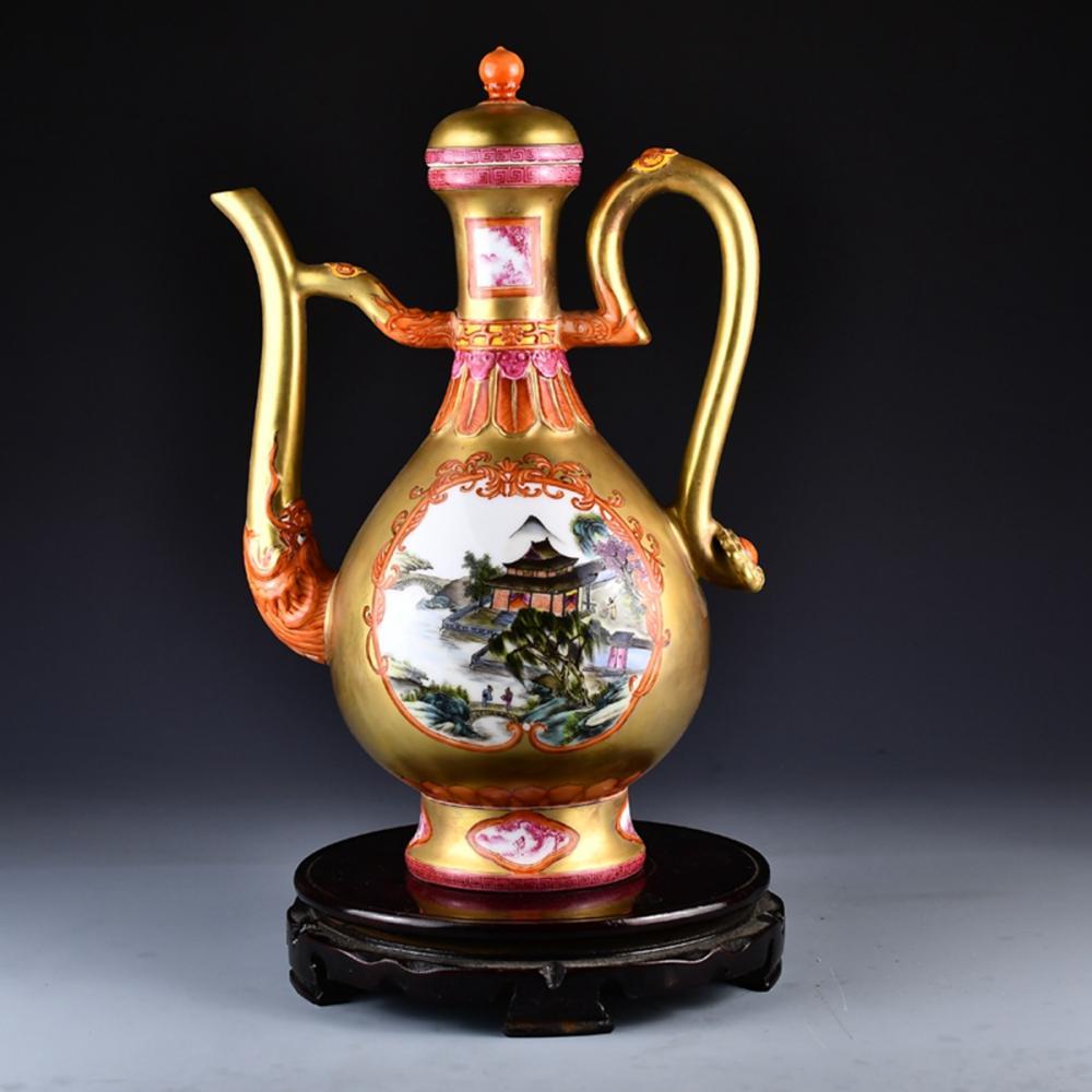 Superb Chinese Gilt Gold Famille Rose Porcelain Wine Pot w YongzhengMark