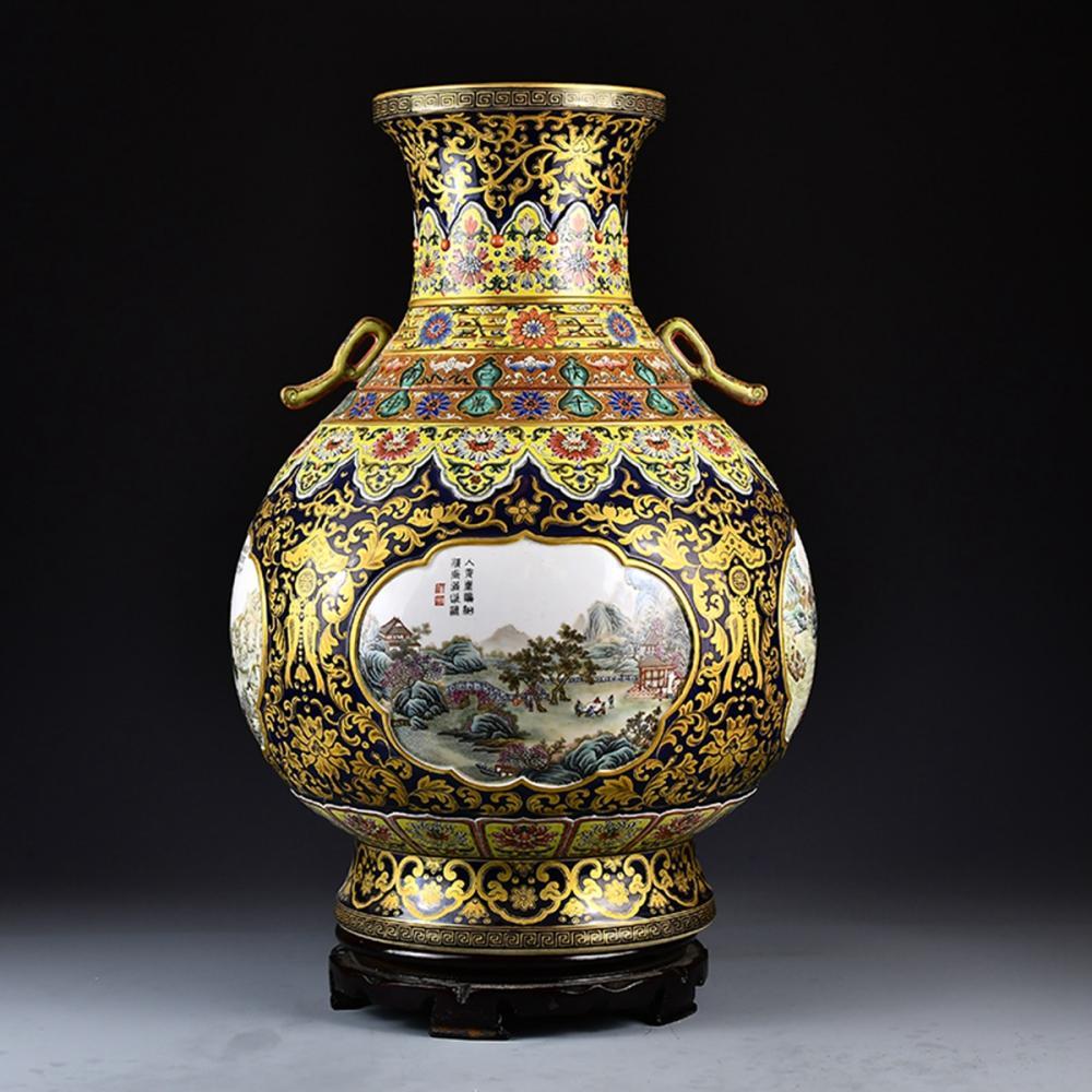 Superb Chinese Qing Dynasty Gilt Gold Enamel Porcelain Big Pot w Qianlong Mark