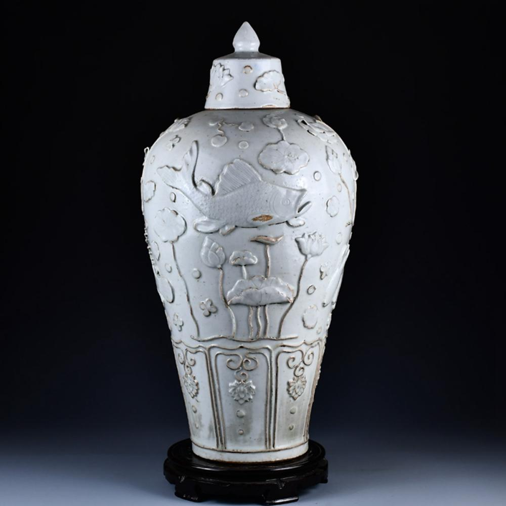 Chinese Yuan Dy White Glaze Low Relief Lotus Flowers & Fish Porcelain Jar w Lid