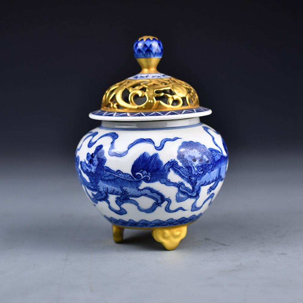 Openwork Chinese Gilt Gold Blue And White Lucky Lions Porcelain Incense Burner w Qianlong Mark