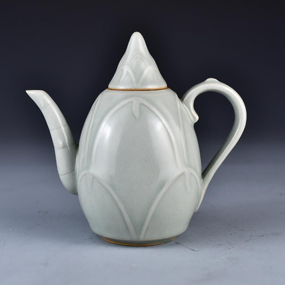 Chinese Song Dy Long Quan Kiln Bamboo Shape Porcelain Wine Pot