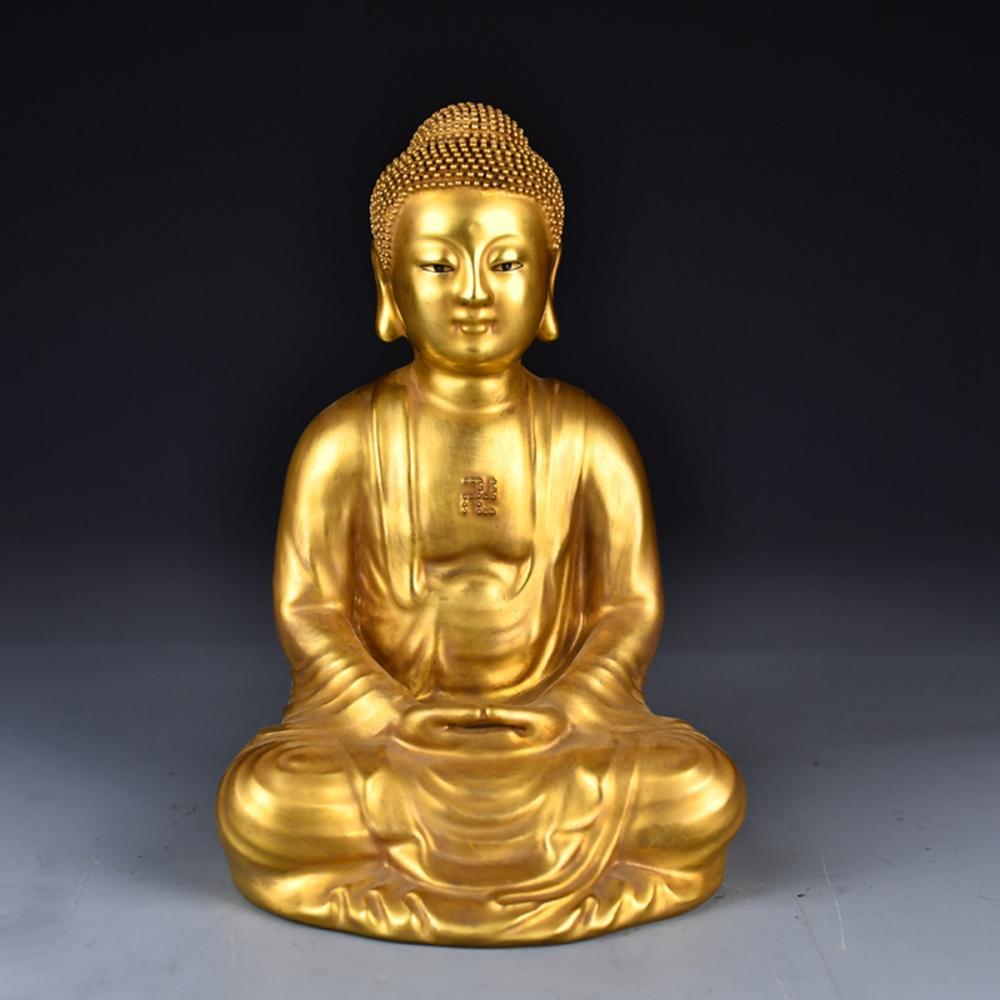 Superb Chinese Gilt Gold Porcelain Sakyamuni Buddha Statue w Qianlong Mark
