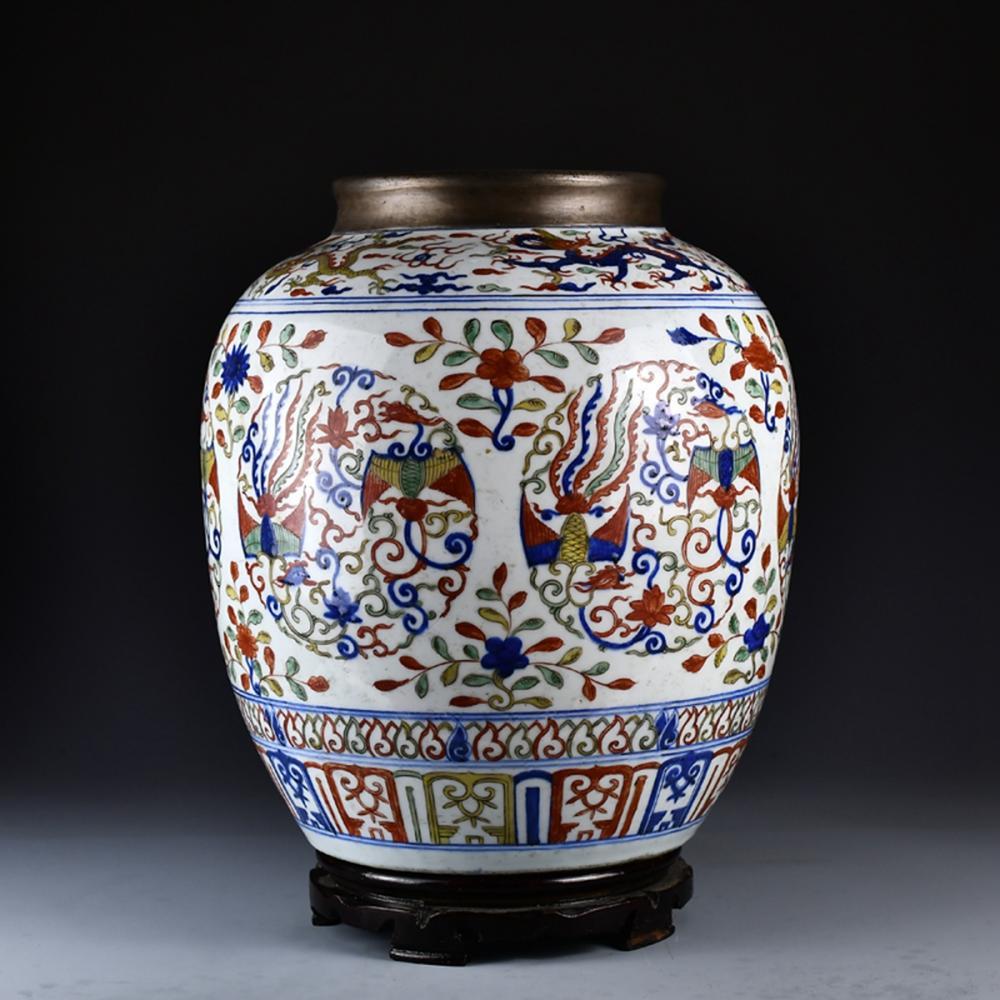 Chinese Ming Dy Dragon Phoenix Design Dou Cai Porcelain Big Pot