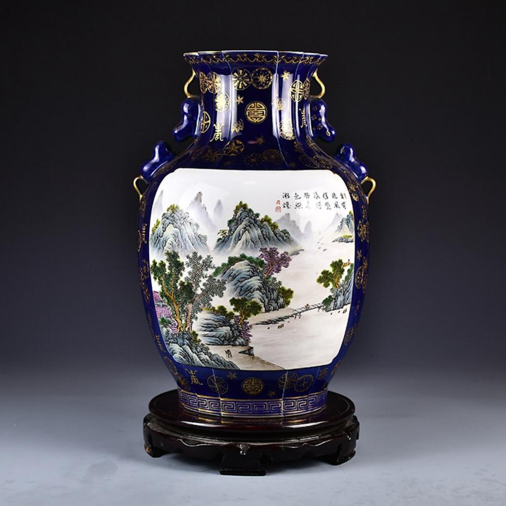 Chinese Gilt Gold Jilan Glaze Famille Rose Porcelain Double Ears Vase w Qianlong Mark