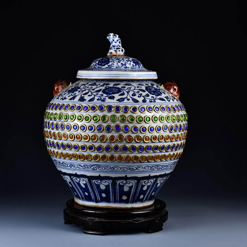 Chinese Ming Dy Blue And White Porcelain Inlay Gems Pot & Lid