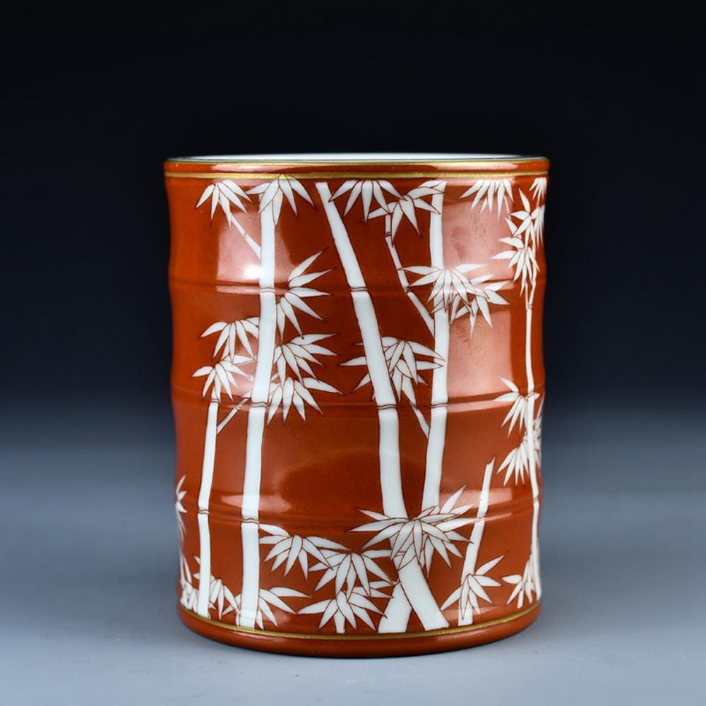 Chinese Gilt Edges Monochrome Glaze Porcelain Brush Pot w Yongzheng Mark
