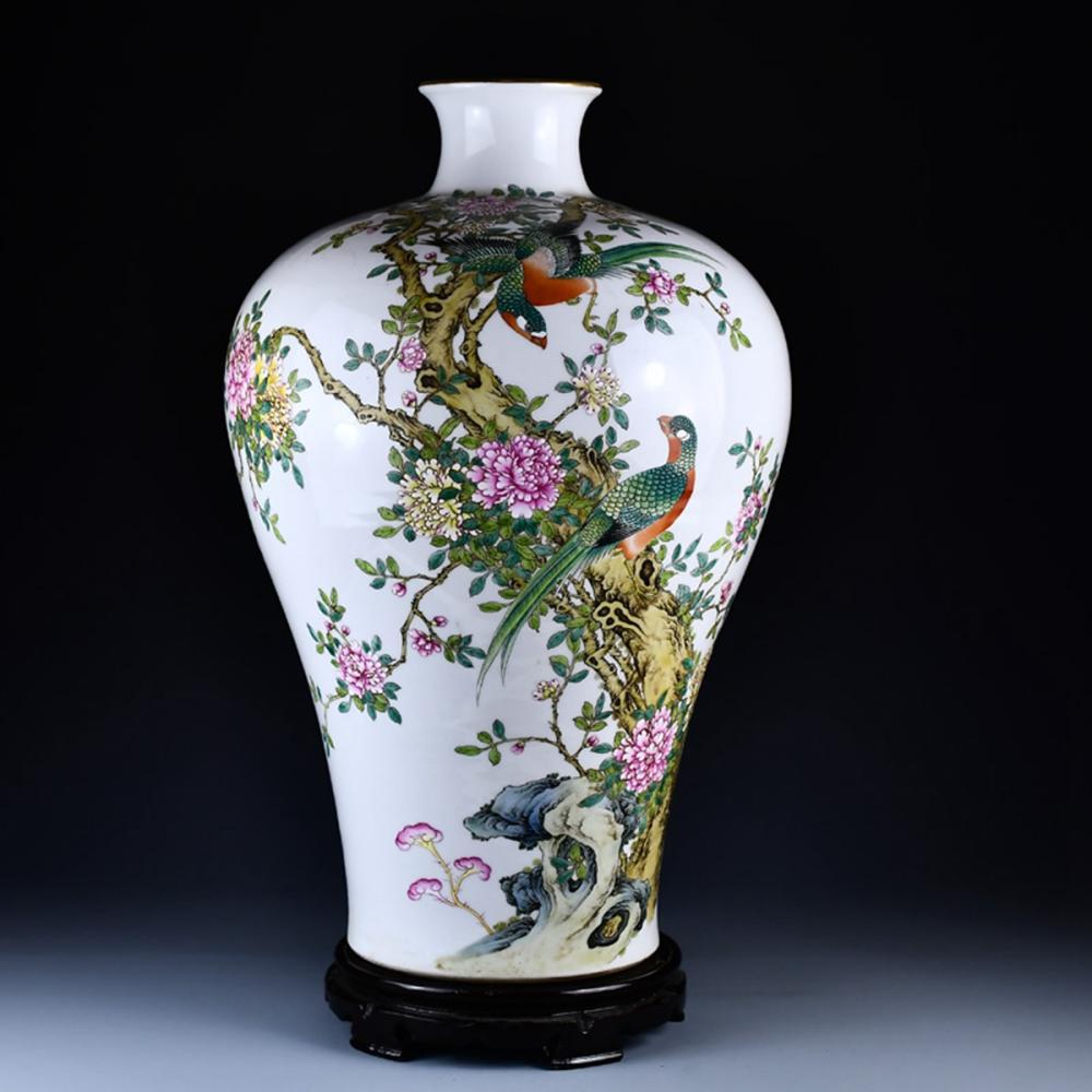 Superb Chinese Gilt Edge Famille Rose Porcelain Flowers & Birds Big Vase w Qianlong Mark